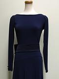 紺のリボンつきドレス 3524