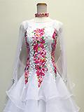 白の花柄ドレス 1609037