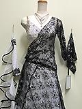 白と黒の石付きドレス 152127014003