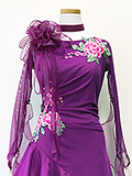 社交ダンスドレス:コサージュと花柄の紫ドレス 1609205