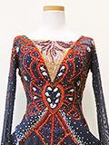 社交ダンスドレス:輝く石つき紺のドレス 1a1804
