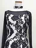白と黒の花柄ドレス 1605080